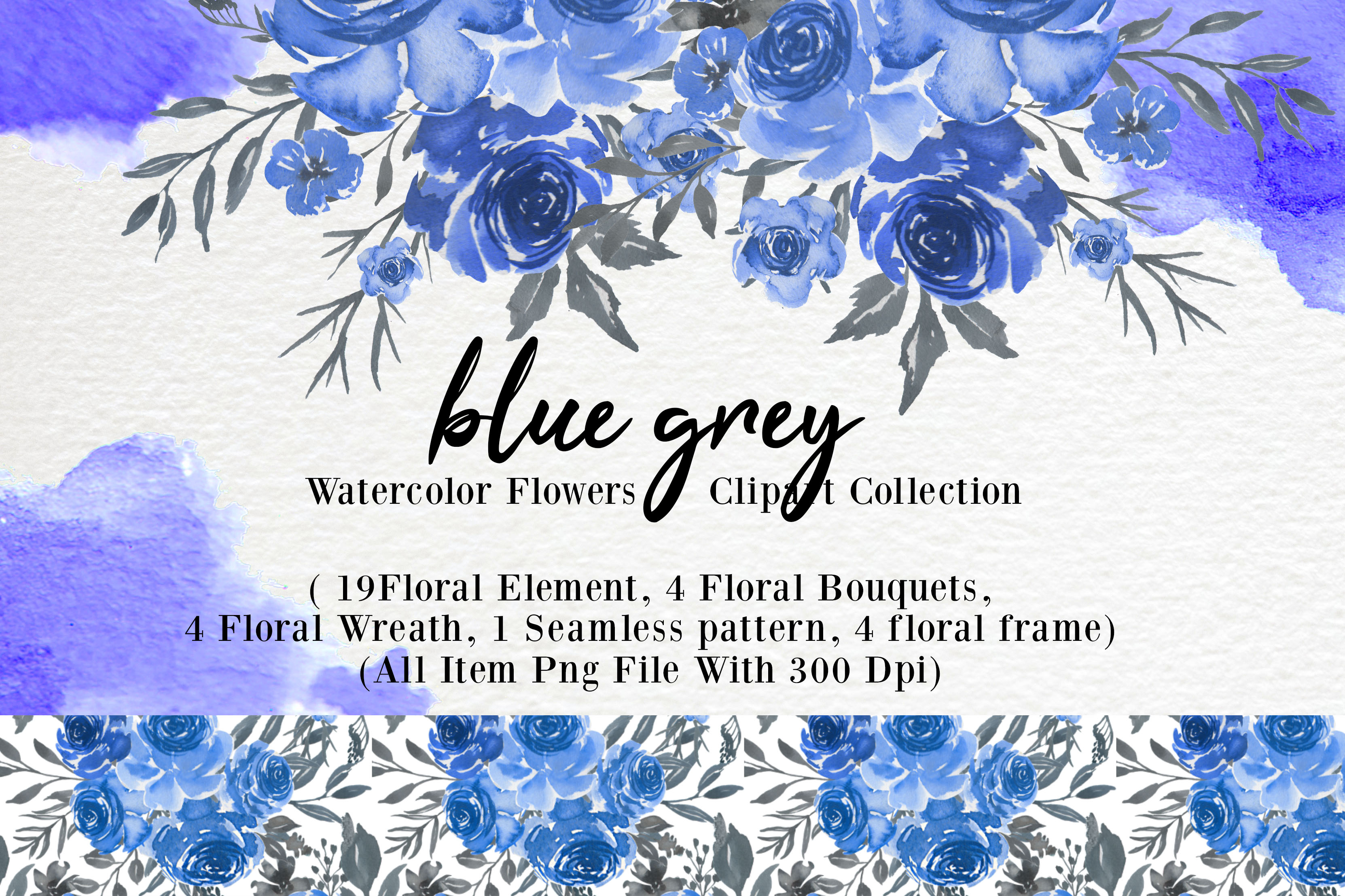 Download Free Blue Grey Watercolor Flower Clip Art Graphic By Orchidart for Cricut Explore, Silhouette and other cutting machines.