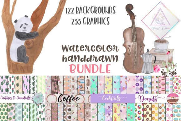 Print on Demand: Watercolor Handdrawn BUNDLE Graphic Illustrations By fantasycliparts