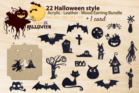 Download Free Halloween Style Acrylic Earring Graphic By 3motional Creative for Cricut Explore, Silhouette and other cutting machines.