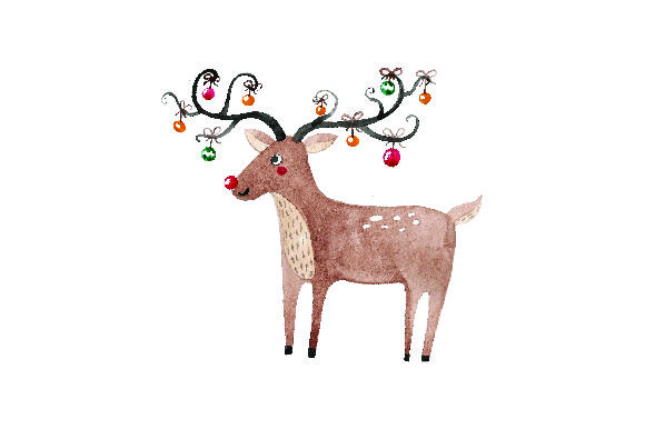 Download Free Reindeer With Ornaments Hanging From Antlers Watercolor Svg Cut for Cricut Explore, Silhouette and other cutting machines.