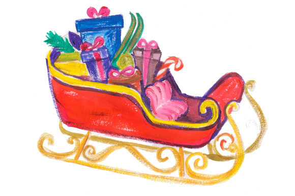 Download Free Sleigh Full Of Presents In Gouache Style Svg Cut File By for Cricut Explore, Silhouette and other cutting machines.