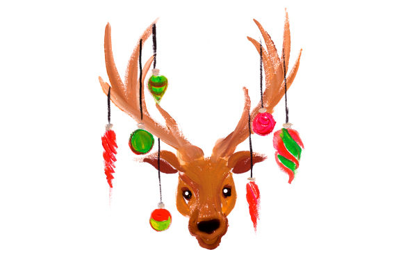 Download Free Reindeer With Ornaments Hanging From Antlers In Gouache Style Svg for Cricut Explore, Silhouette and other cutting machines.