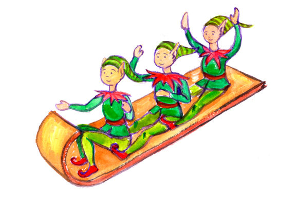 Download Free Elves On Toboggan In Gouache Style Svg Cut File By Creative for Cricut Explore, Silhouette and other cutting machines.