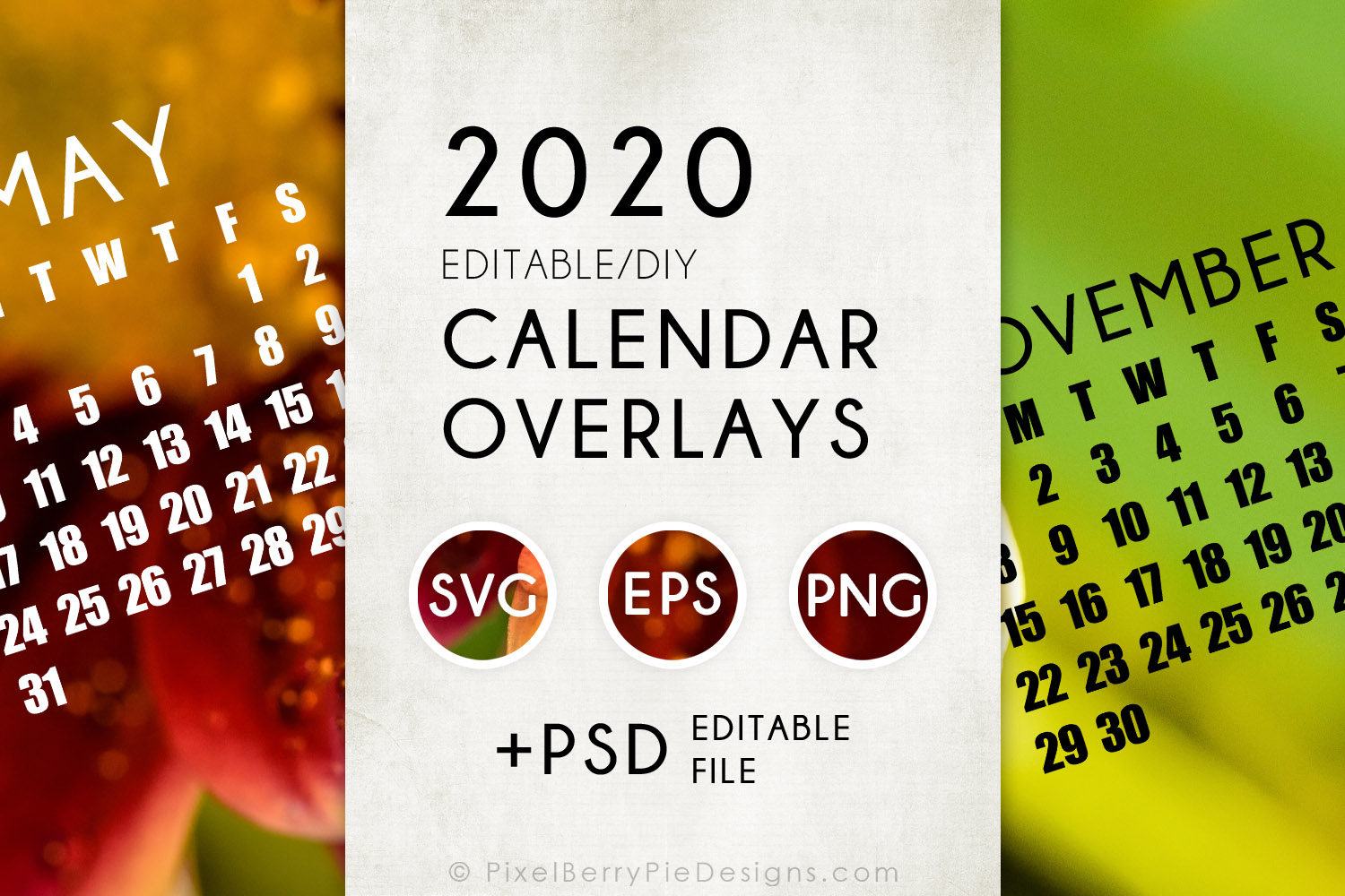 2020 Calendar Overlay Templates Psd Svg Graphic By Pixel Berry