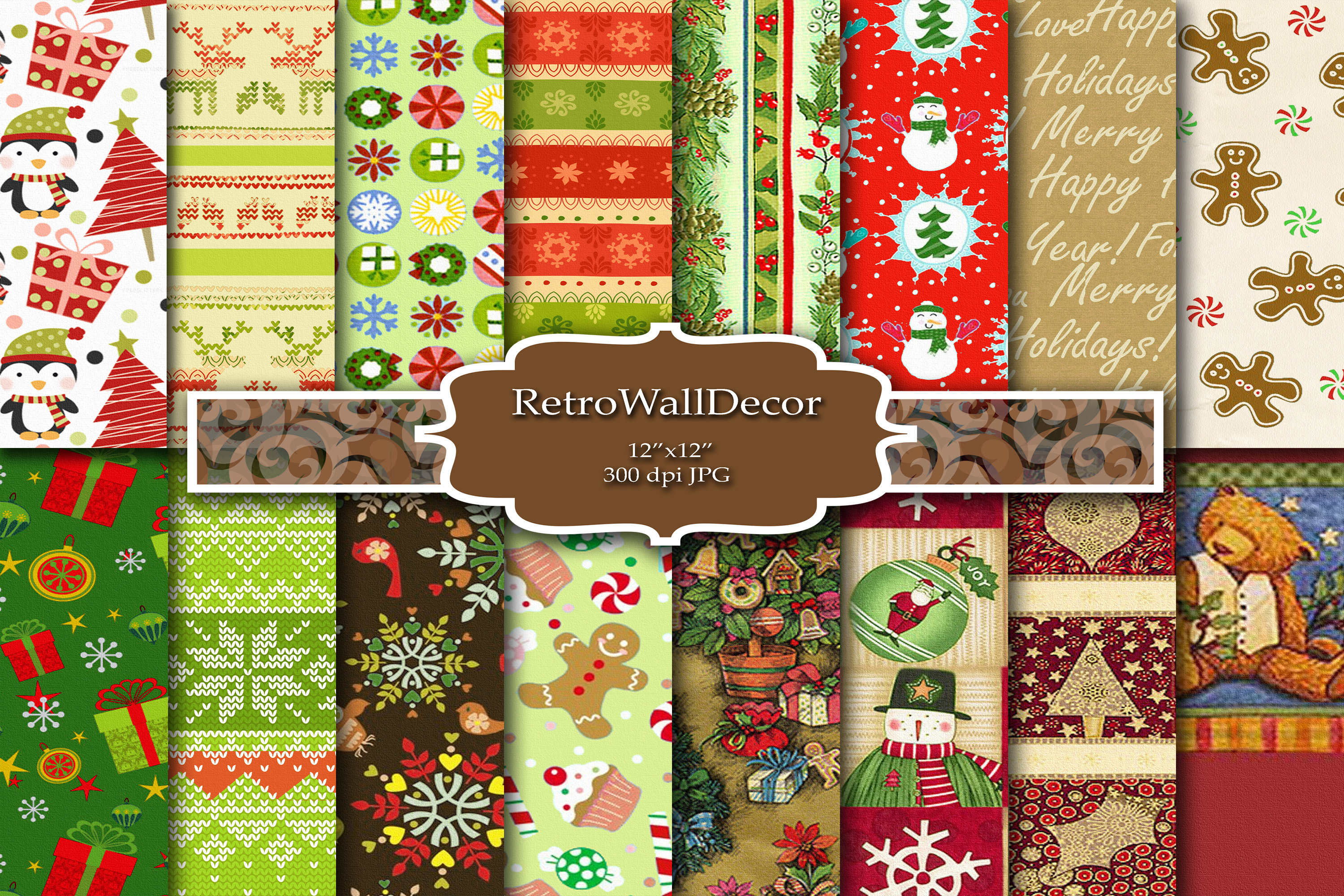 Download Free Christmas Digital Paper Graphic By Retrowalldecor Creative Fabrica for Cricut Explore, Silhouette and other cutting machines.