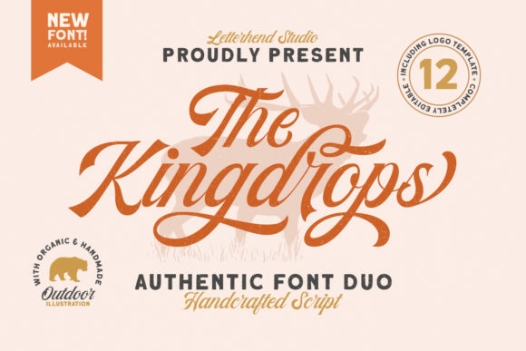 Print on Demand: Kingdrops Duo Script & Handwritten Font By letterhend