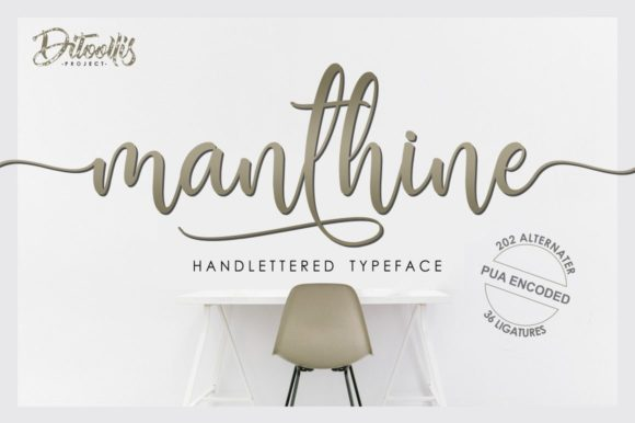 Print on Demand: Manthine Script & Handwritten Font By Ditoollis Project