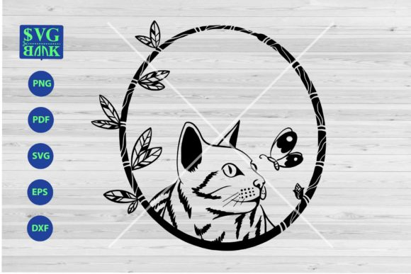 Download Free Cat In Frame Funny Cat Face Svg Graphic By Svgbank Creative for Cricut Explore, Silhouette and other cutting machines.