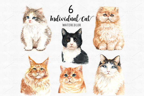 Cat Lover Watercolor Clip Art Graphic By SapG Art Image 2