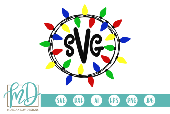Download Free Christmas Light Monogram Frame Graphic By Morgan Day Designs for Cricut Explore, Silhouette and other cutting machines.