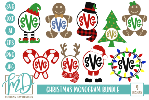 Download Free Christmas Monogram Bundle Graphic By Morgan Day Designs for Cricut Explore, Silhouette and other cutting machines.