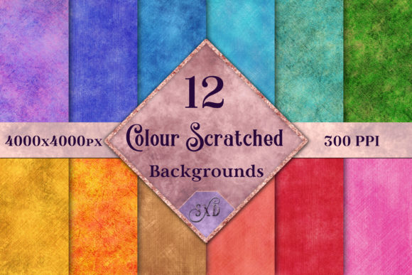 Colour Scratched Backgrounds - 12 Images Graphic By SapphireXDesigns
