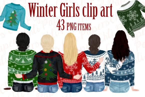 Girl Best Friend Clipart,Winter Clipart Graphic By ChiliPapers Image 1