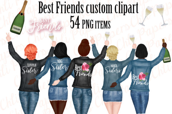 Best Friends Clipart,Custom Besties Graphic Illustrations By ChiliPapers