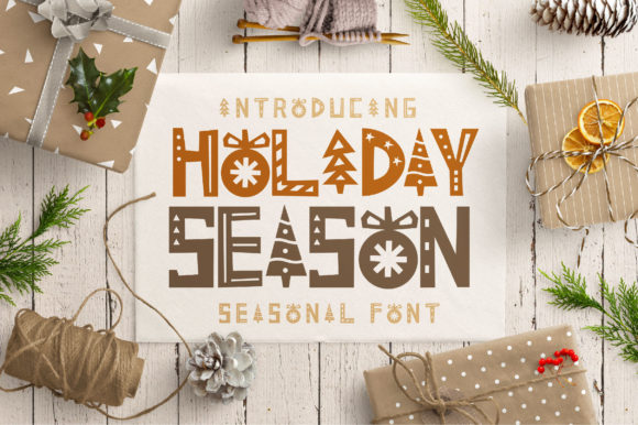 Print on Demand: Holiday Season Display Schriftarten von Caoca Studios