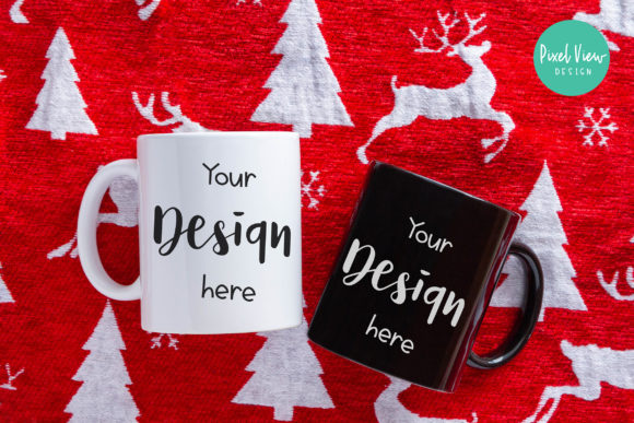 Print on Demand: Coffee Mugs Mock-Up | Christmas Graphic Product Mockups By Pixel View Design