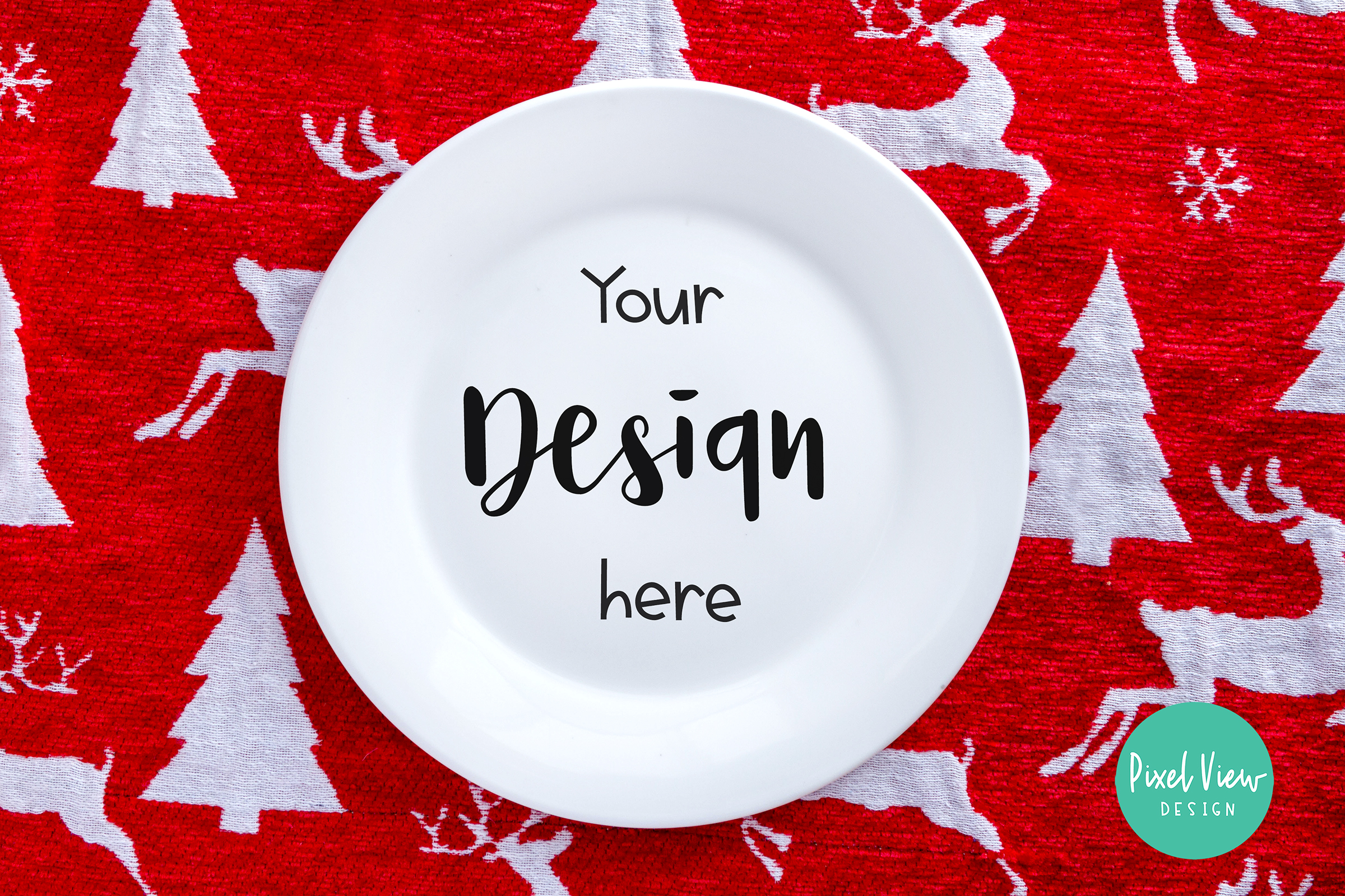 Download Free White Plate Mock Up Christmas Graphic By Pixel View Design for Cricut Explore, Silhouette and other cutting machines.
