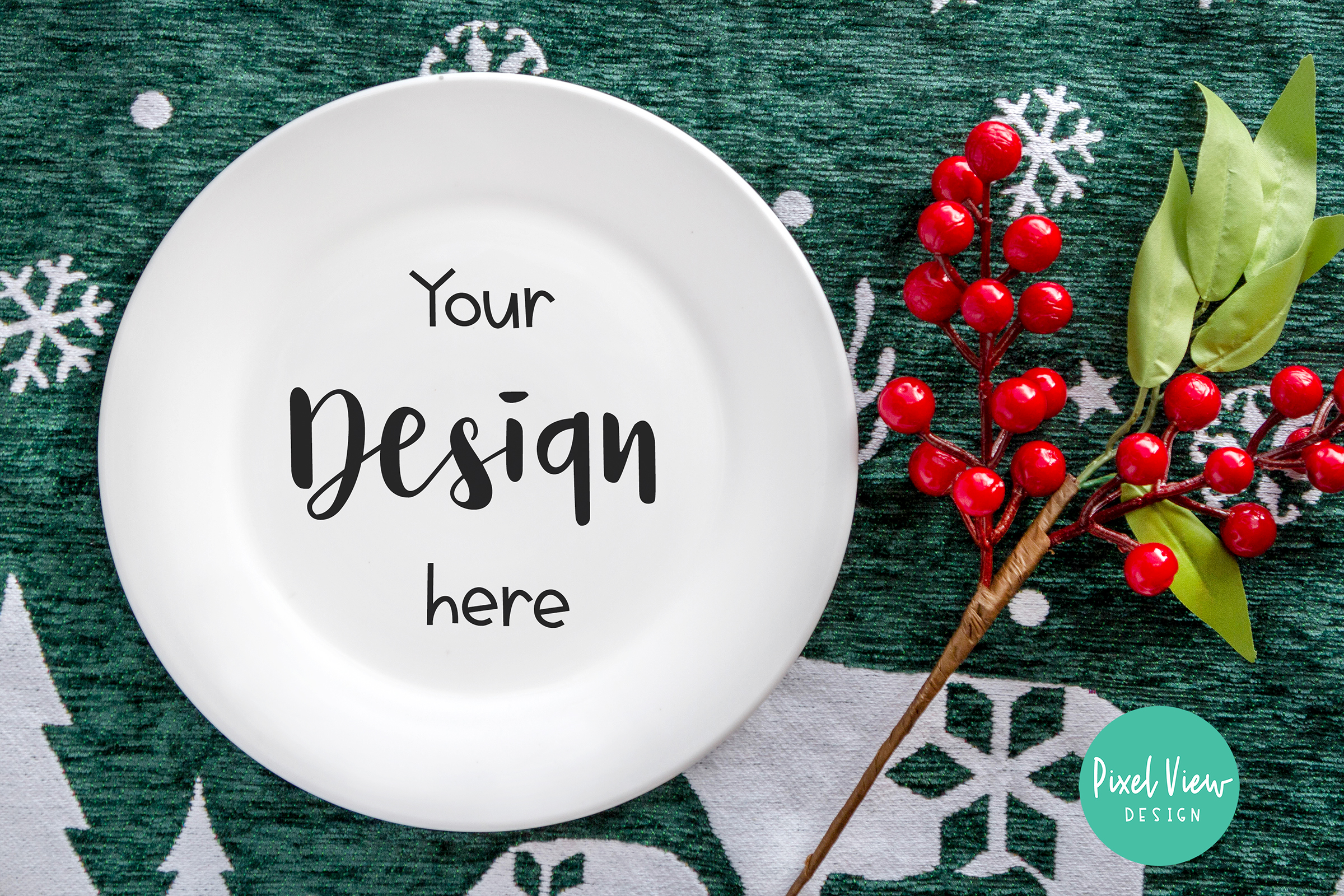 Download Free Plate Mock Up Christmas Graphic By Pixel View Design for Cricut Explore, Silhouette and other cutting machines.