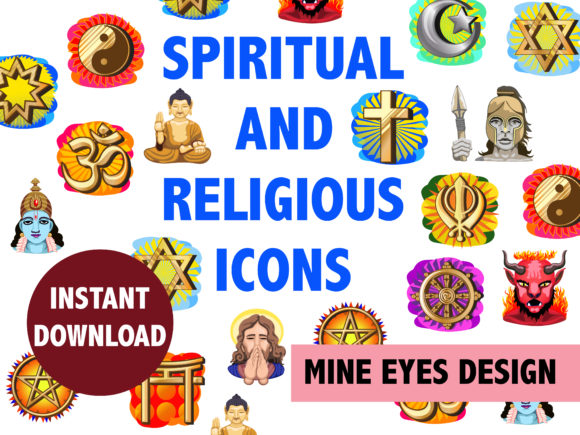 Print on Demand: Spiritual and Religious Clipart Graphic Illustrations By Mine Eyes Design