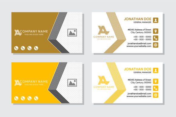 Print on Demand: Business Card with Photo Space Gold Graphic Print Templates By noory.shopper