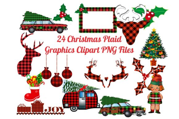 24 Christmas Plaid Lumberjack PNG Files Grafik von Scrapbook Attic Studio