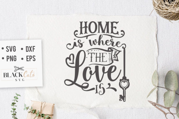 Download Free Home Is Where The Love Is Svg Graphic By Blackcatsmedia for Cricut Explore, Silhouette and other cutting machines.