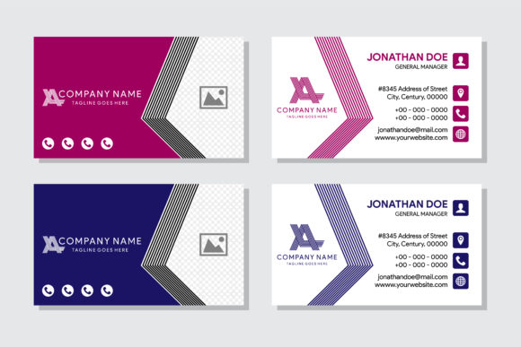 Print on Demand: Line Business Card with Photo Space Graphic Graphic Templates By noory.shopper