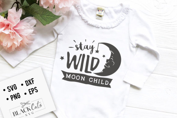 Download Free Stay Wild Moon Child Svg Graphic By Blackcatsmedia Creative for Cricut Explore, Silhouette and other cutting machines.