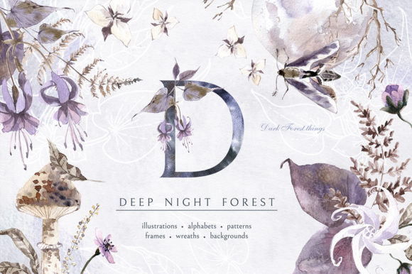 Print on Demand: Deep Night Forest Graphic Kit Graphic Illustrations By dinkoobraz
