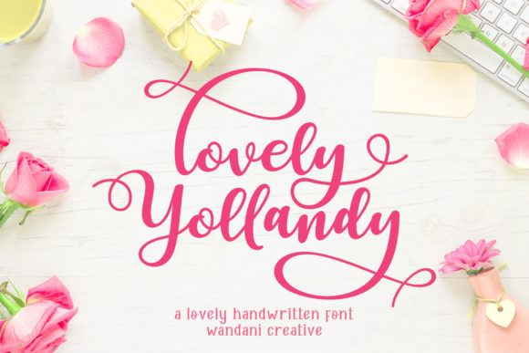 Download Free Lovely Yollandy Font By Wandani Creative Creative Fabrica for Cricut Explore, Silhouette and other cutting machines.