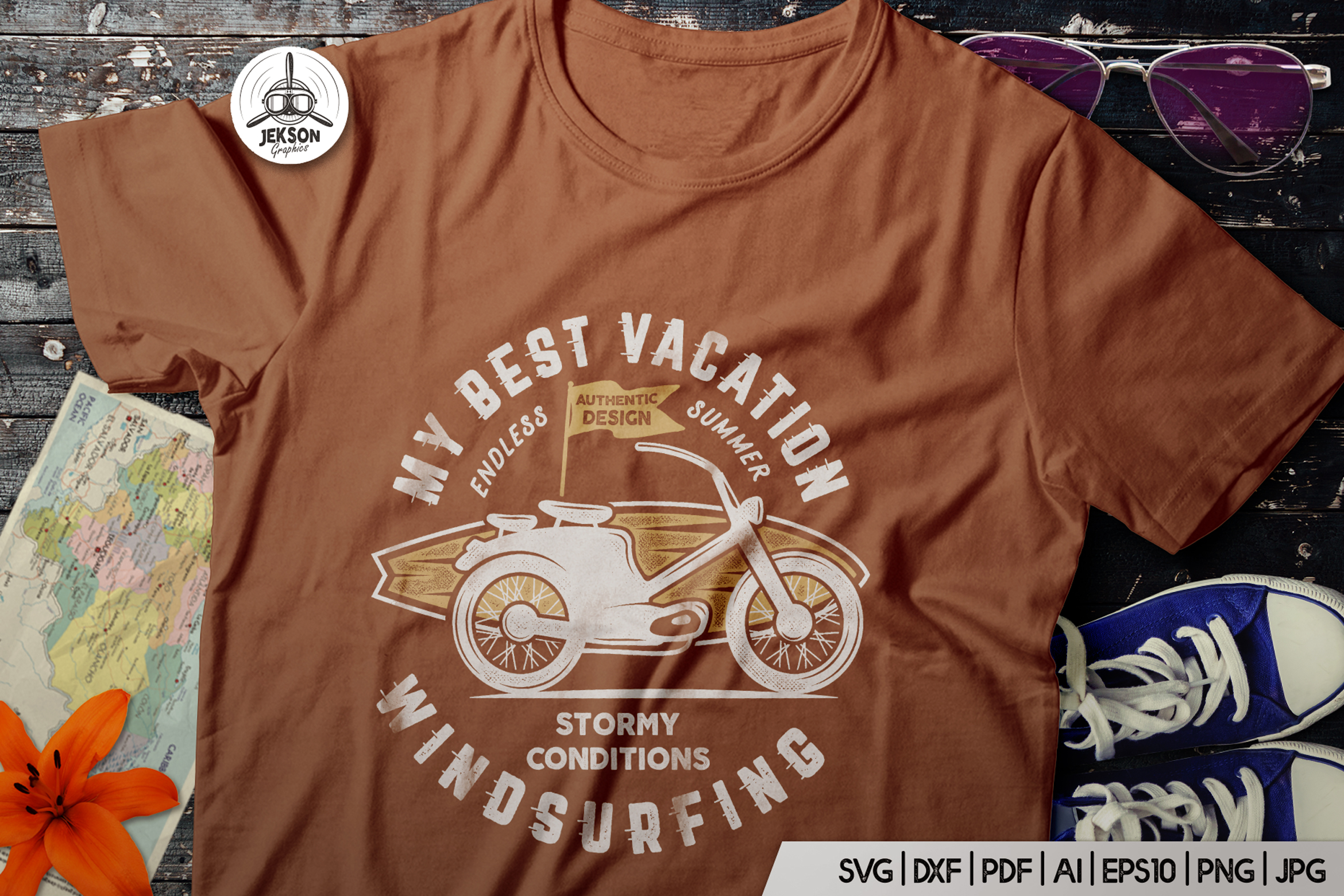 Download Free Surfing Retro Graphics Prints Tshirt Graphic By Jeksongraphics for Cricut Explore, Silhouette and other cutting machines.