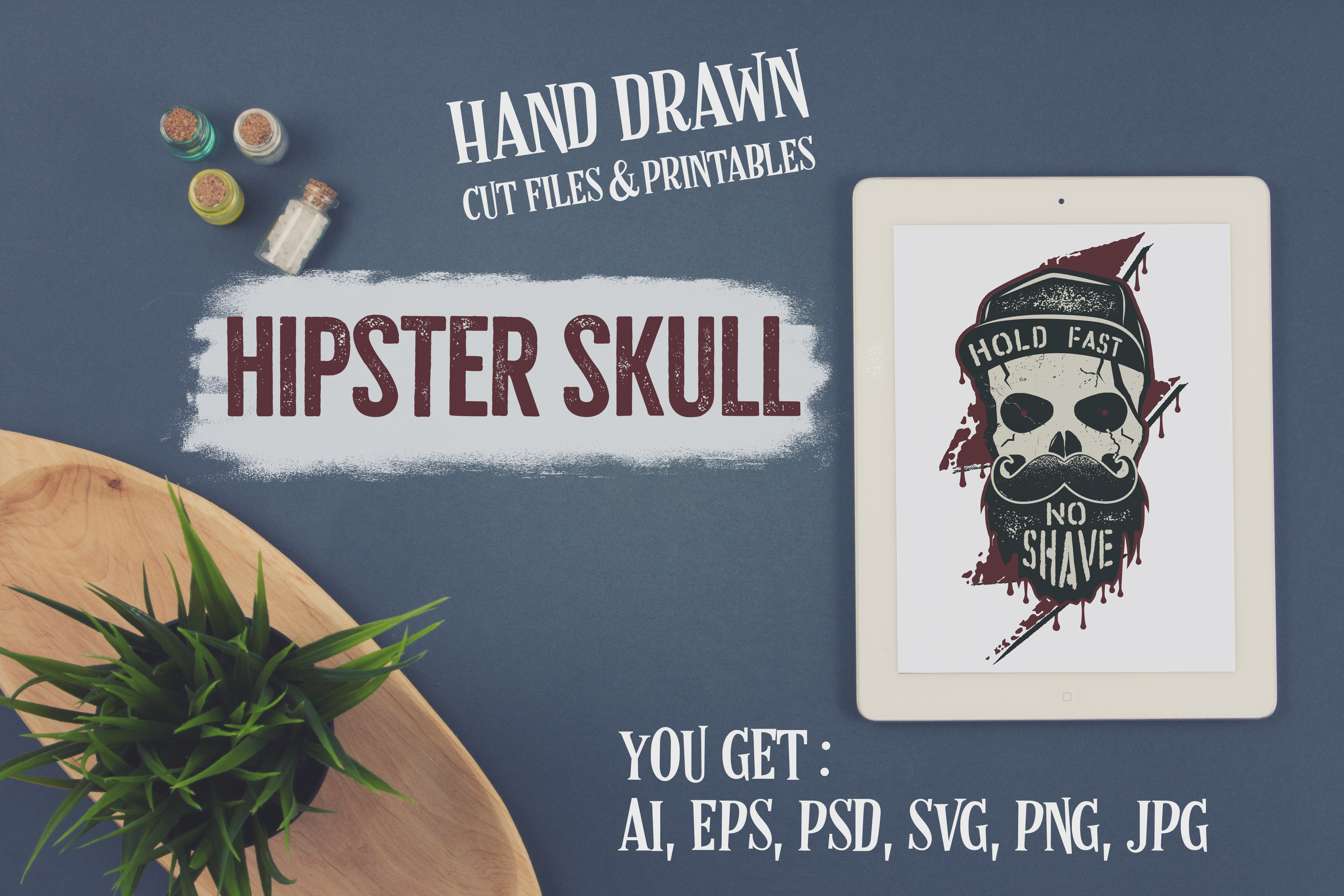 Download Free Hipster Skull T Shirt Design Graphic By Jeksongraphics for Cricut Explore, Silhouette and other cutting machines.