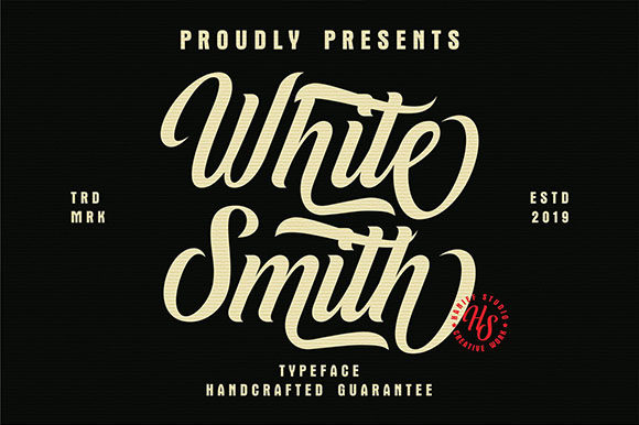Download Free White Smith Font By Hanzel Studio Creative Fabrica for Cricut Explore, Silhouette and other cutting machines.