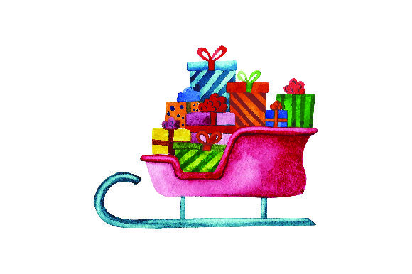 Sleigh Full of Presents - Watercolor Craft Design Por Creative Fabrica Crafts