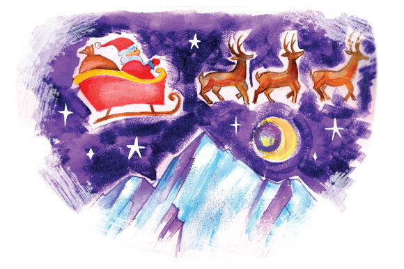 Download Free Santa Flying Sleigh Past Mountains In Gouache Style Svg Cut File for Cricut Explore, Silhouette and other cutting machines.