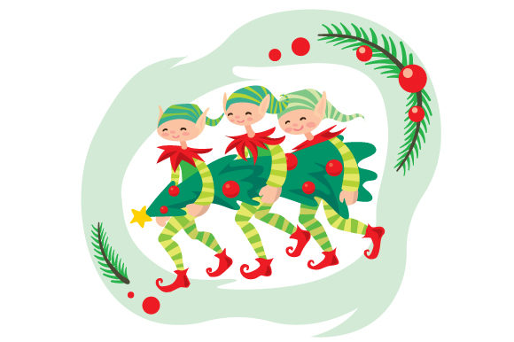 Download Free Elves Carrying Christmas Tree Svg Cut File By Creative Fabrica for Cricut Explore, Silhouette and other cutting machines.