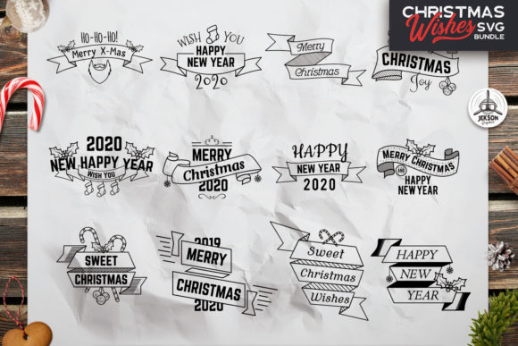 Download Free Christmas Bundle New Year Labels Graphic By Jeksongraphics for Cricut Explore, Silhouette and other cutting machines.
