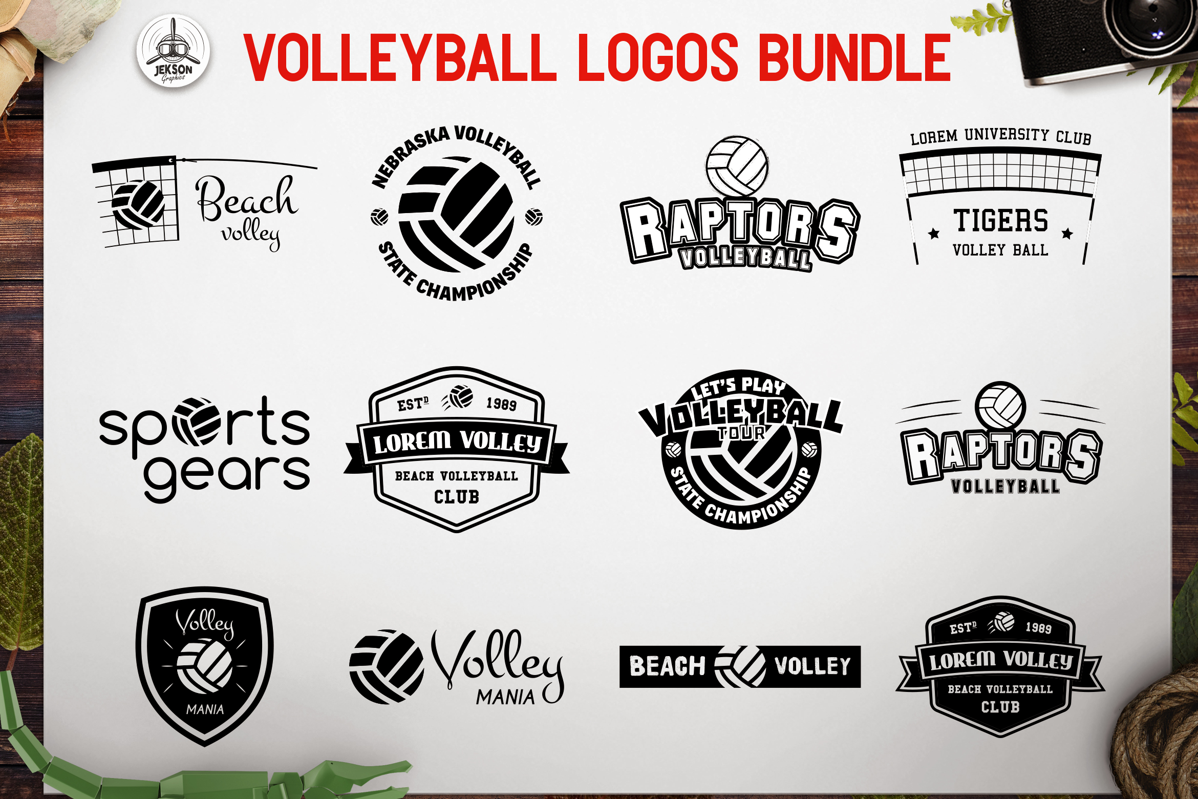 Download Free Sports Volleyball Logos Set Graphic By Jeksongraphics Creative for Cricut Explore, Silhouette and other cutting machines.