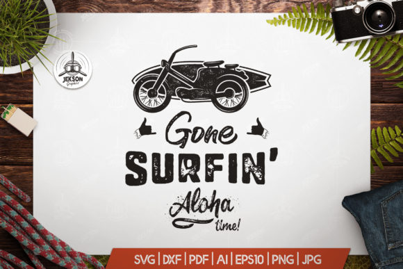 Download Free Surfing Retro Logo Design Graphic By Jeksongraphics Creative for Cricut Explore, Silhouette and other cutting machines.