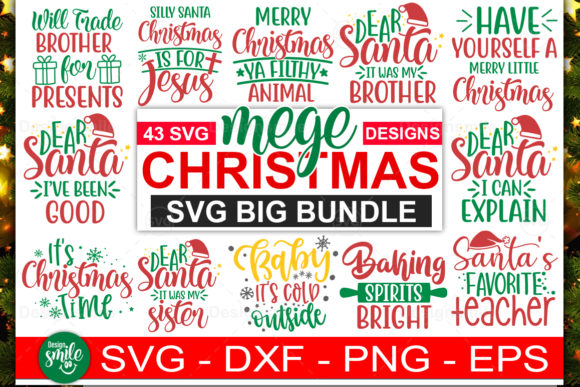 Download Free Holiday Christmas Big Bundle Graphic By Designdealy Com for Cricut Explore, Silhouette and other cutting machines.
