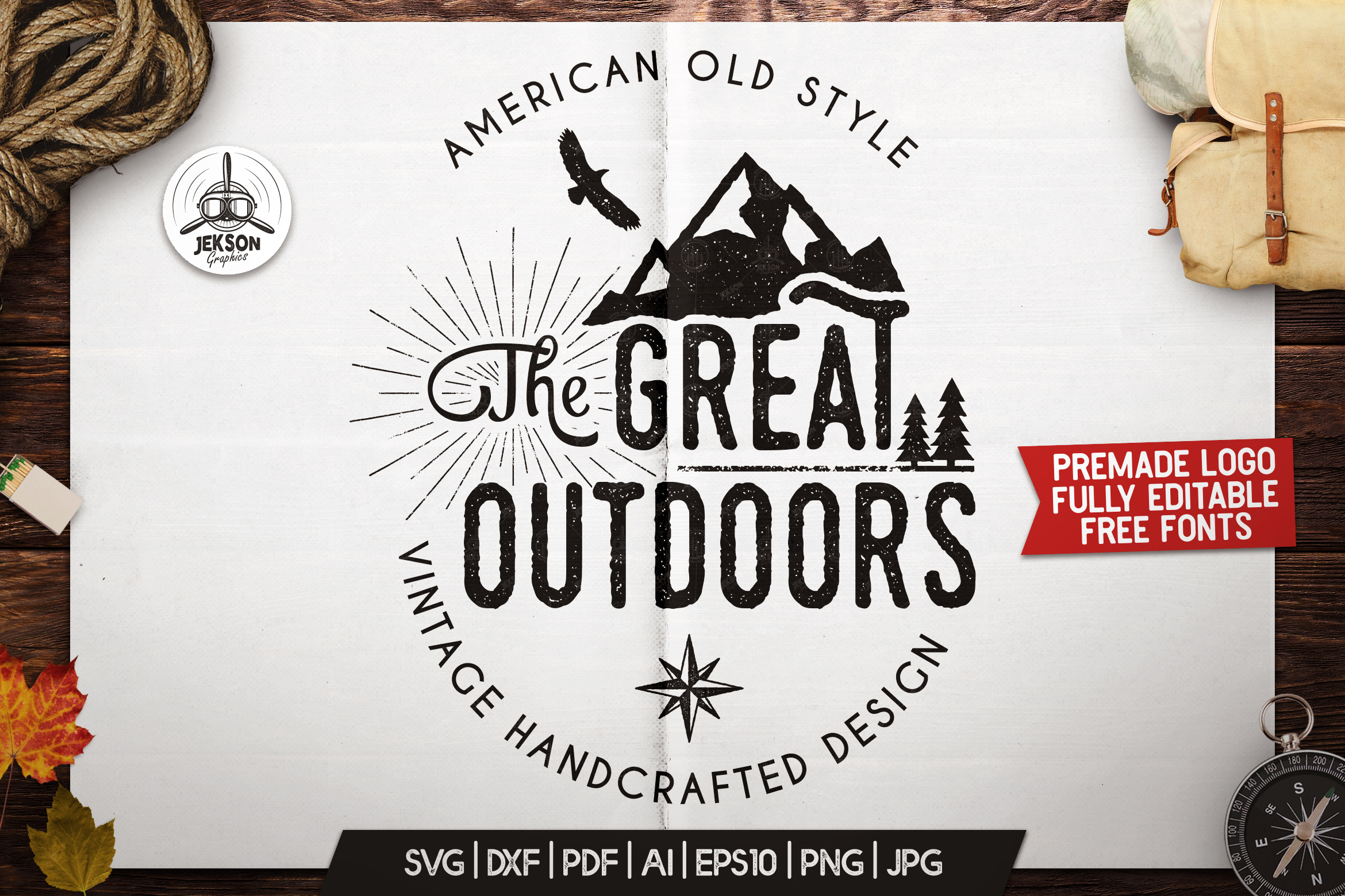 Download Free Great Outdoors Logo Retro Camping Badge Grafico Por for Cricut Explore, Silhouette and other cutting machines.