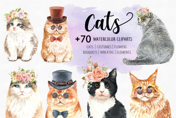 Print on Demand: Cat and Flower Crown Watercolor Cliparts Gráfico Ilustraciones Por SapG Art