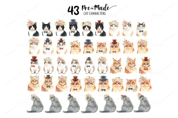 Cat and Flower Crown Watercolor Cliparts Graphic By SapG Art Image 5