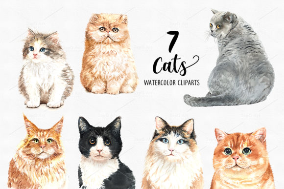 Cat and Flower Crown Watercolor Cliparts Graphic By SapG Art Image 2