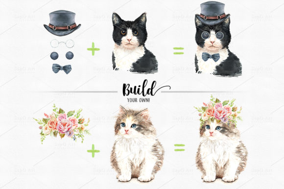 Cat and Flower Crown Watercolor Cliparts Graphic By SapG Art Image 4