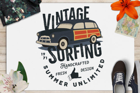 Surfing Life Logo, Surf Retro Emblem Graphic Graphic Templates By JeksonGraphics
