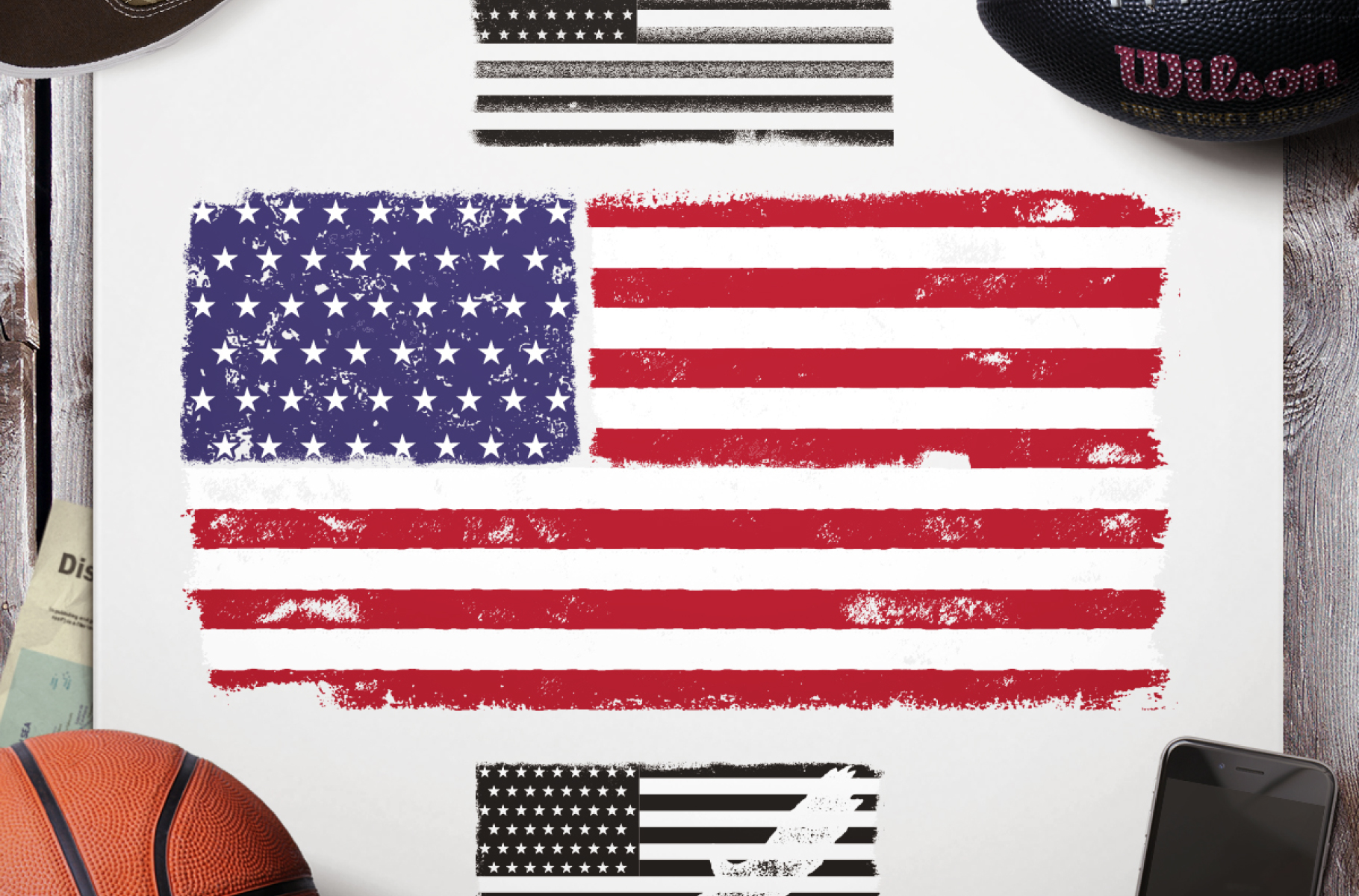 Download Free National Usa Flag Retro Design Graphic By Jeksongraphics for Cricut Explore, Silhouette and other cutting machines.