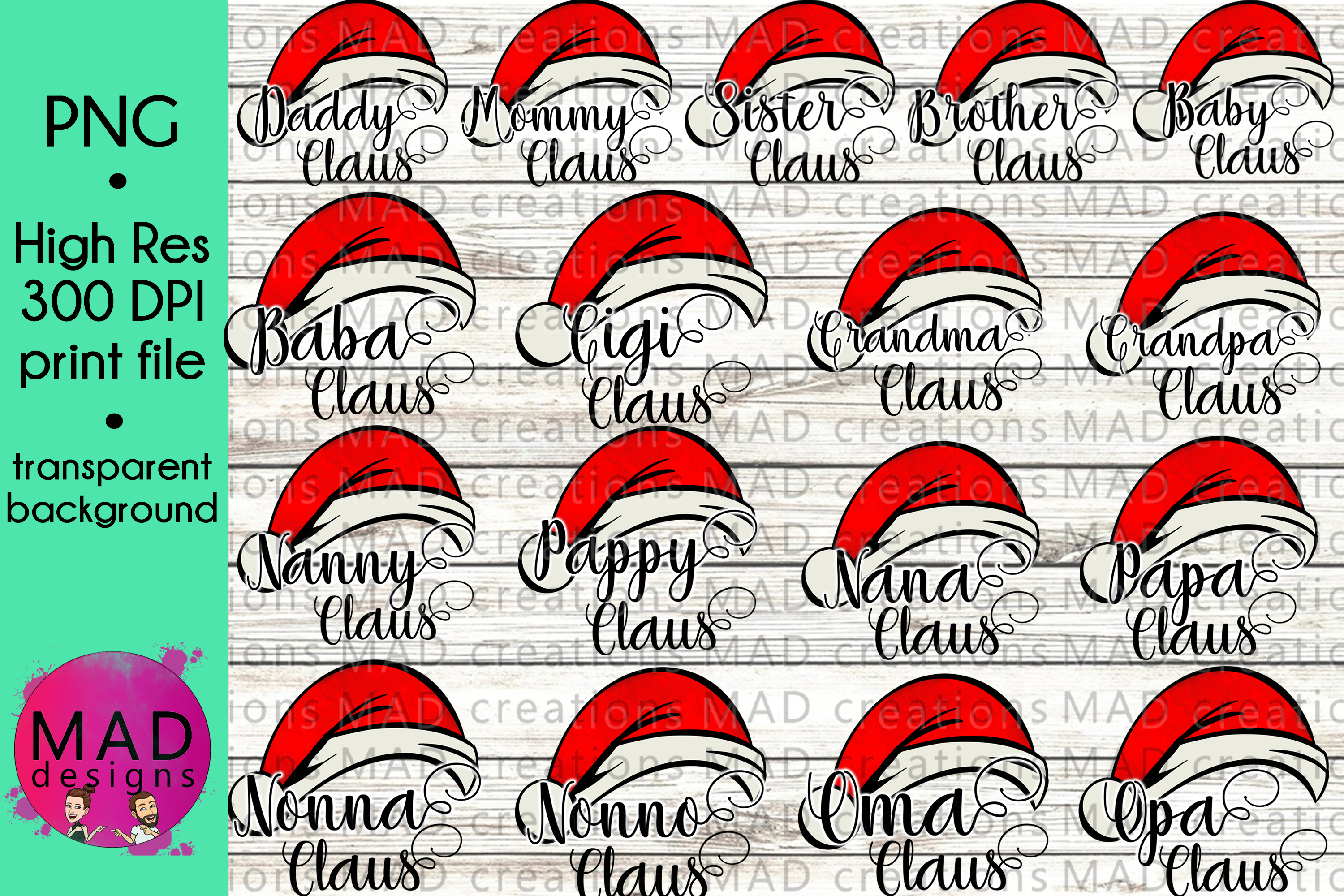 Download Free Giant Family Claus Bundle Graphic By Maddesigns718 Creative for Cricut Explore, Silhouette and other cutting machines.