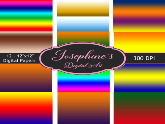 Print on Demand: Gradient Pattern Set of 12 Digital Paper Graphic Backgrounds By Josephine's Digital Art