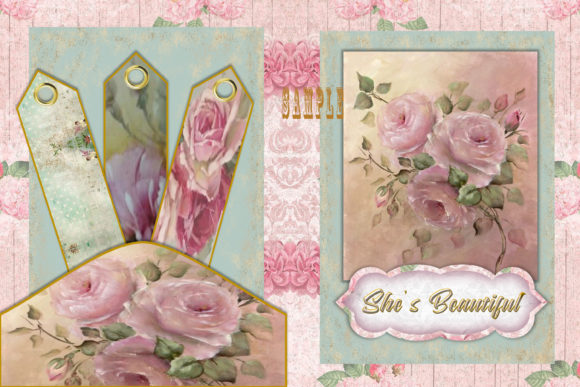 Print on Demand: Vintage Shabby Chic Full Journal Kit Graphic Crafts By The Paper Princess - Image 5
